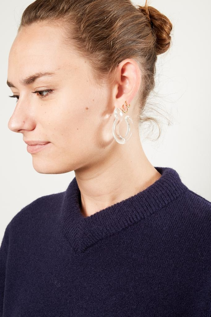 Annika Inez 14K/GF-Glassy Hoops, Large. Rouned Hand Formed Glass.