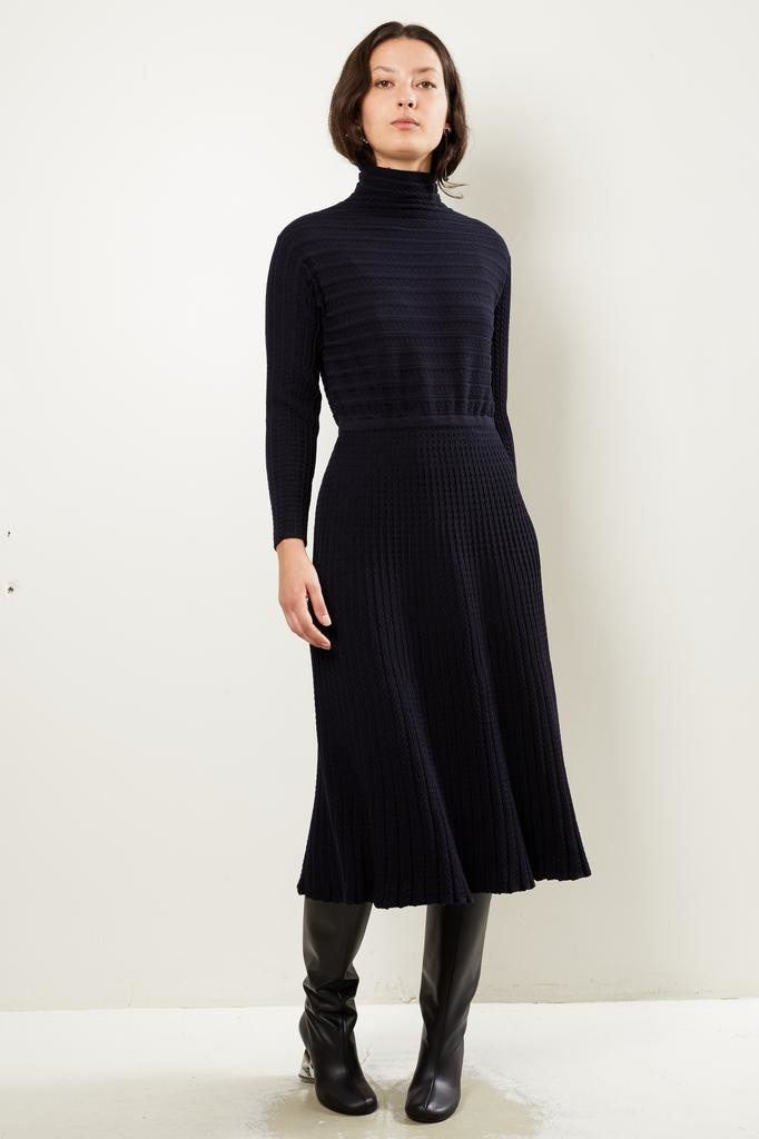 Molli - Laurence robe lonque en maille plissee