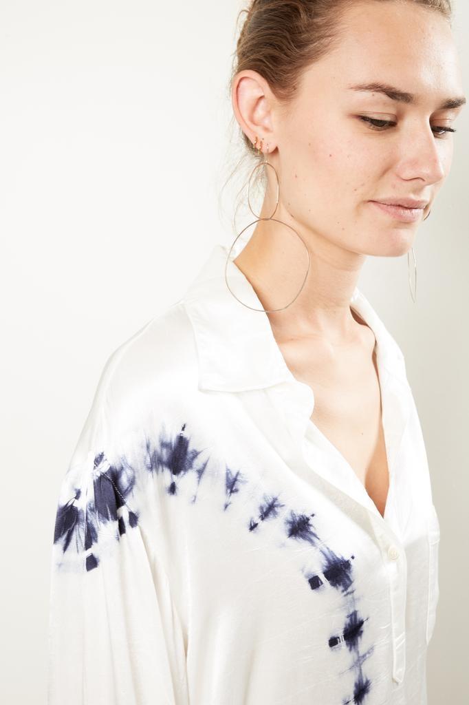 Raquel Allegra Relaxed henley tie dye shirt