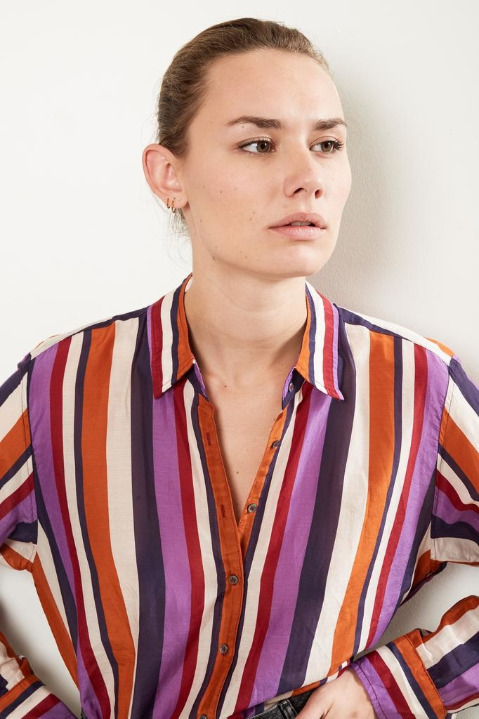 Xirena BEAU BARCELONA STRIPED SILK SHIRT