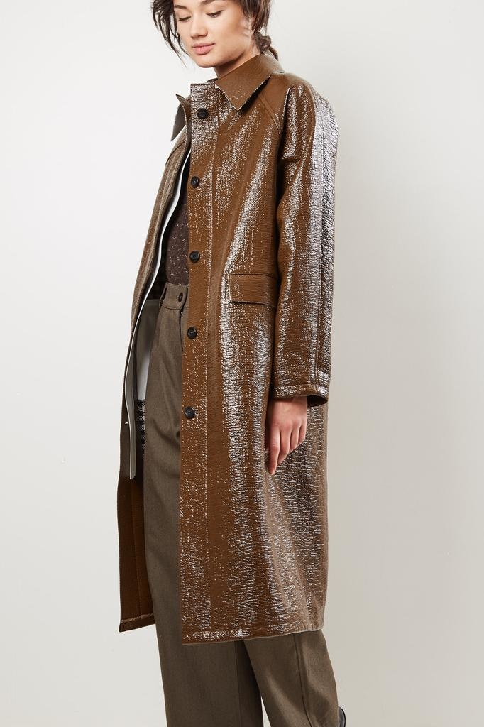 KASSL Double faced lacquer below the knee coat