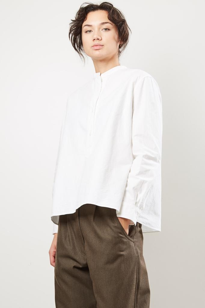 Margaret Howell MHL 3 button heavy compact cotton swing shirt