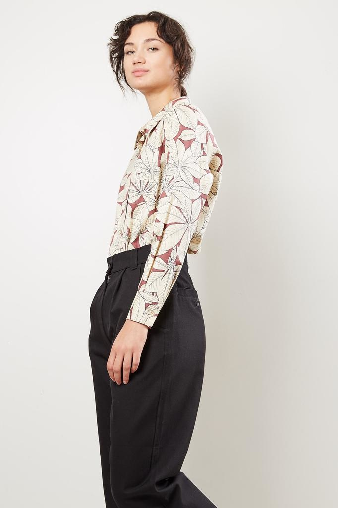 Margaret Howell Low collar pocket mulberry silk shirt