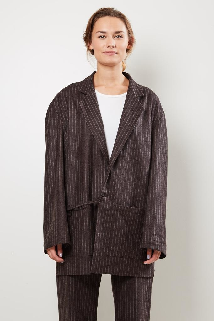 Monique van Heist Donny brown pinstripe wool jacket
