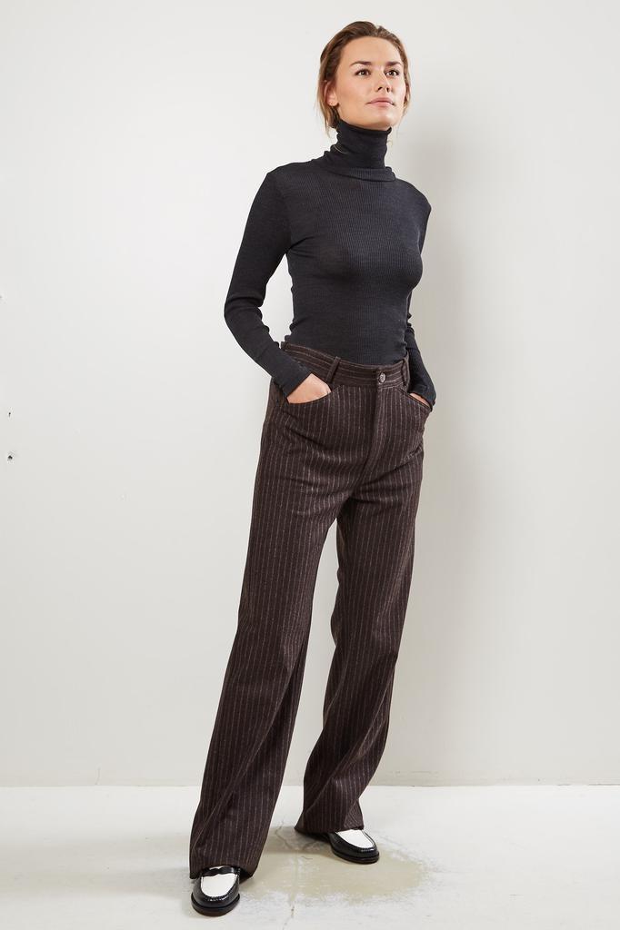 Monique van Heist Sailor brown pinstripe wool trousers
