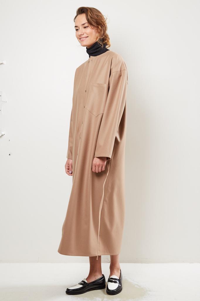Monique van Heist Wrapper sand wool dress