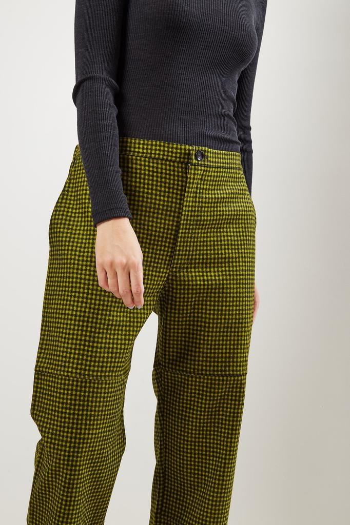 Monique van Heist PJ worker pistache check wool trousers