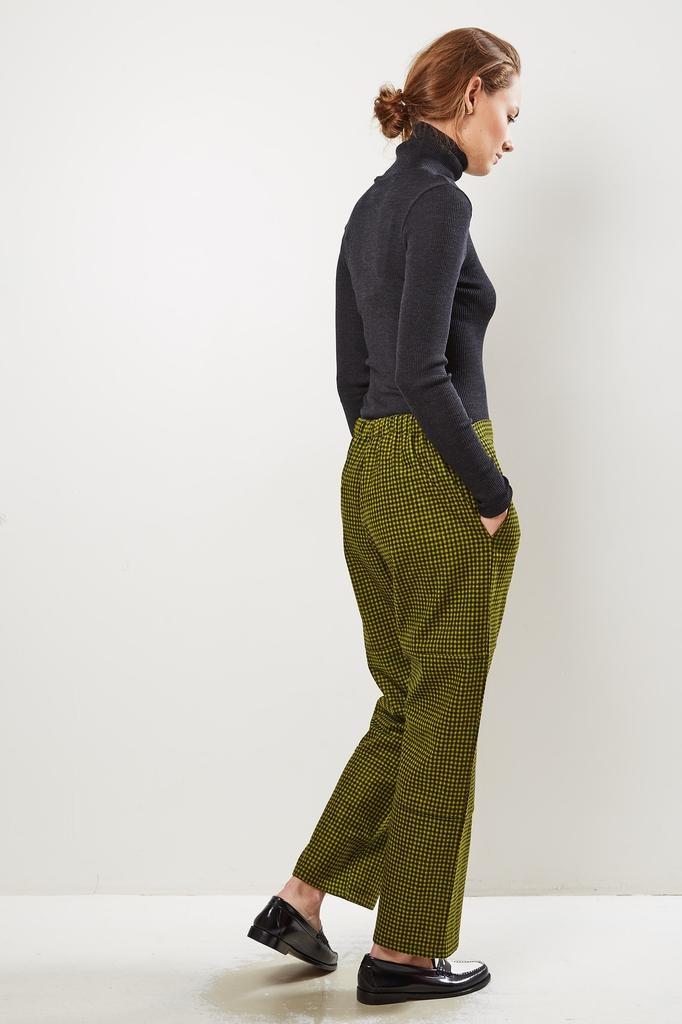 Monique van Heist - PJ worker pistache check wool trousers