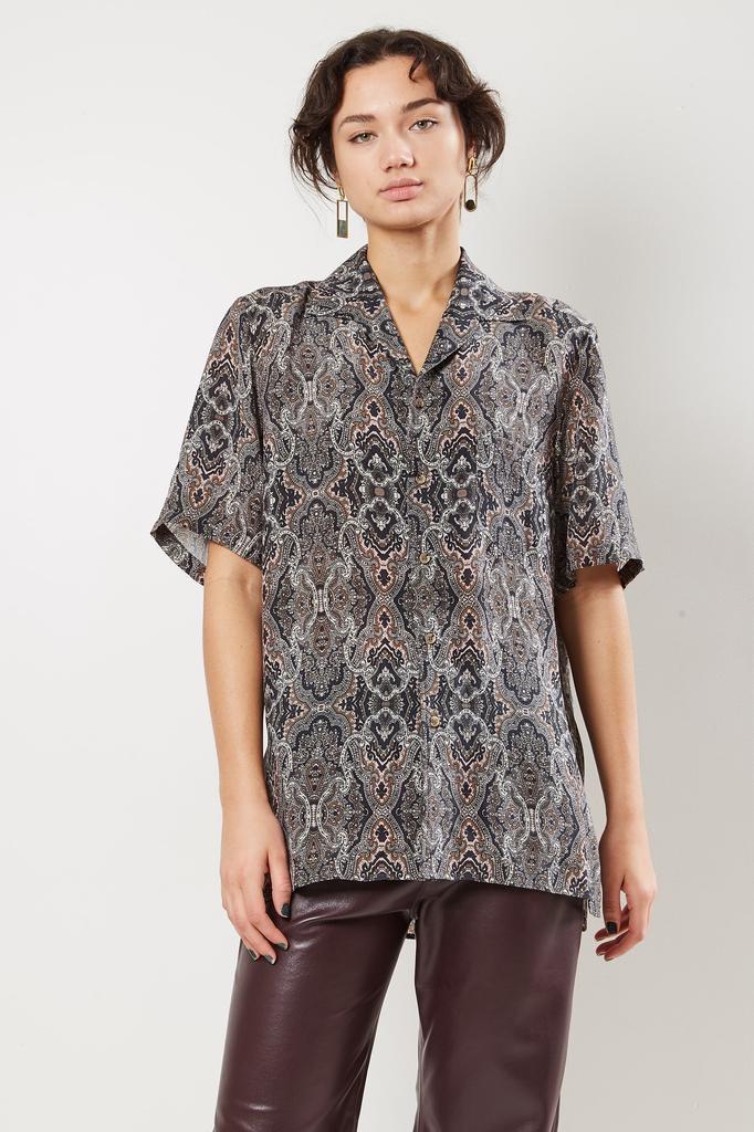 Nanushka Newt cupro paisley print shirt