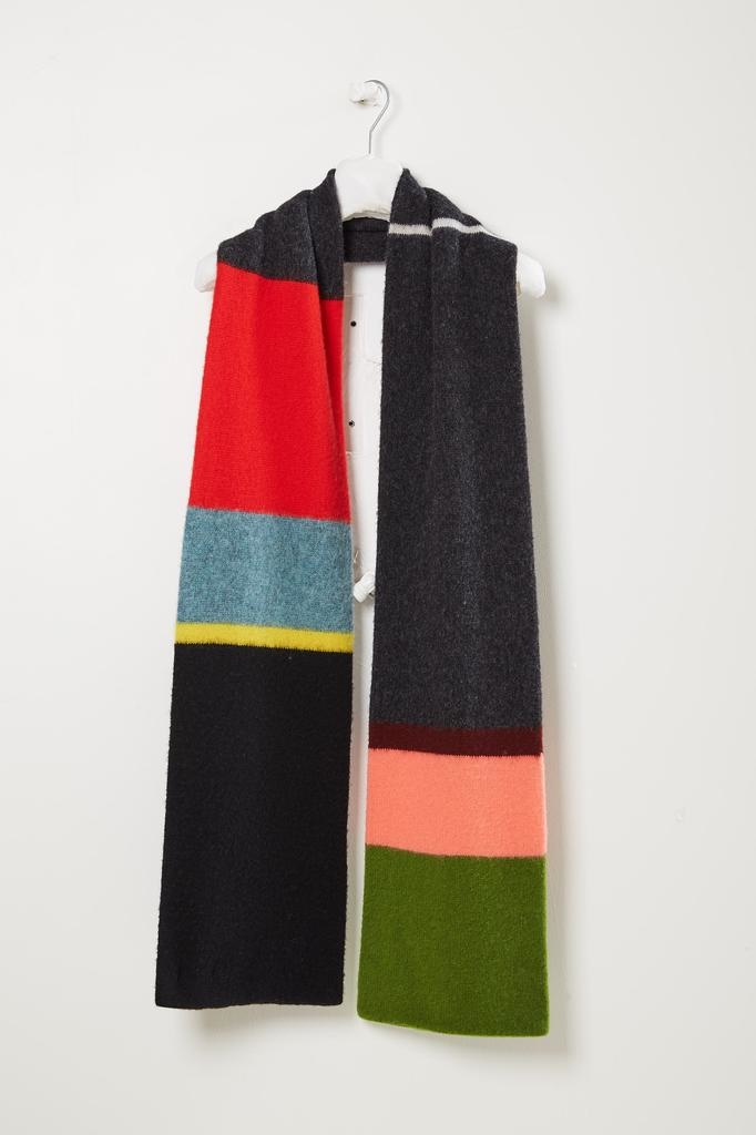Jo Gordon Brushed uneven stripe scarf