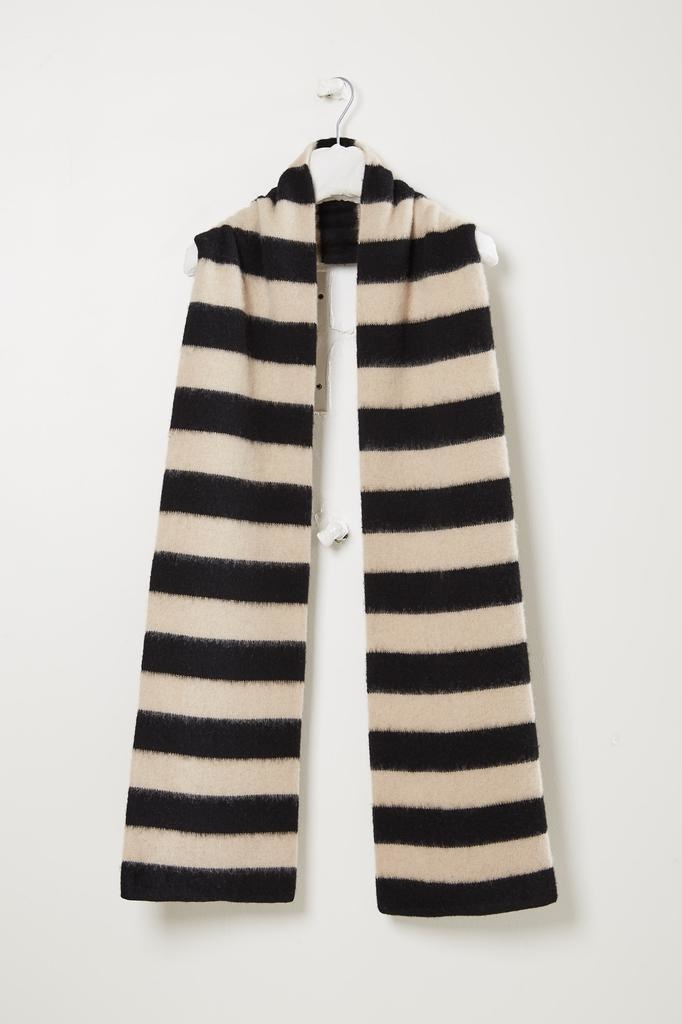Jo Gordon Brushed wide stripe scarf