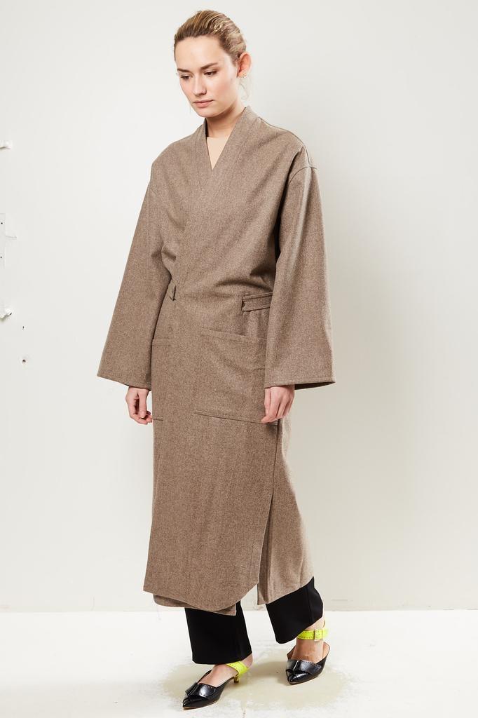 Monique van Heist Kimono sand melange wool coat