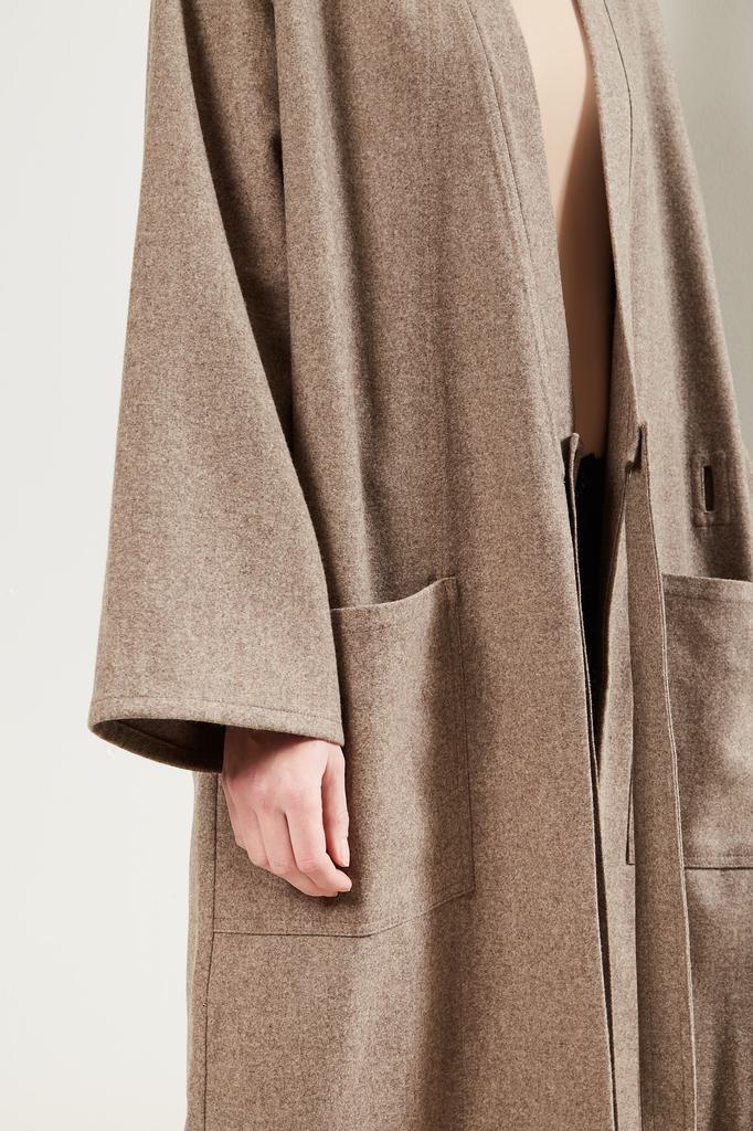 Monique van Heist - Kimono sand melange wool coat