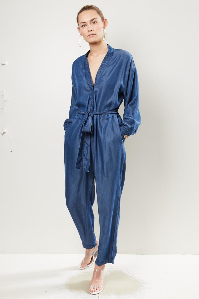Forte Forte Indigo twill long sleeves jumpsuit