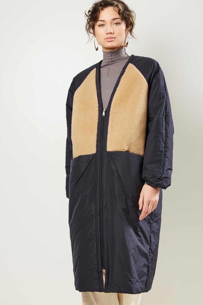 KASSL Micro Tafta  V Neck Padded Sheepskin Patchwork coat