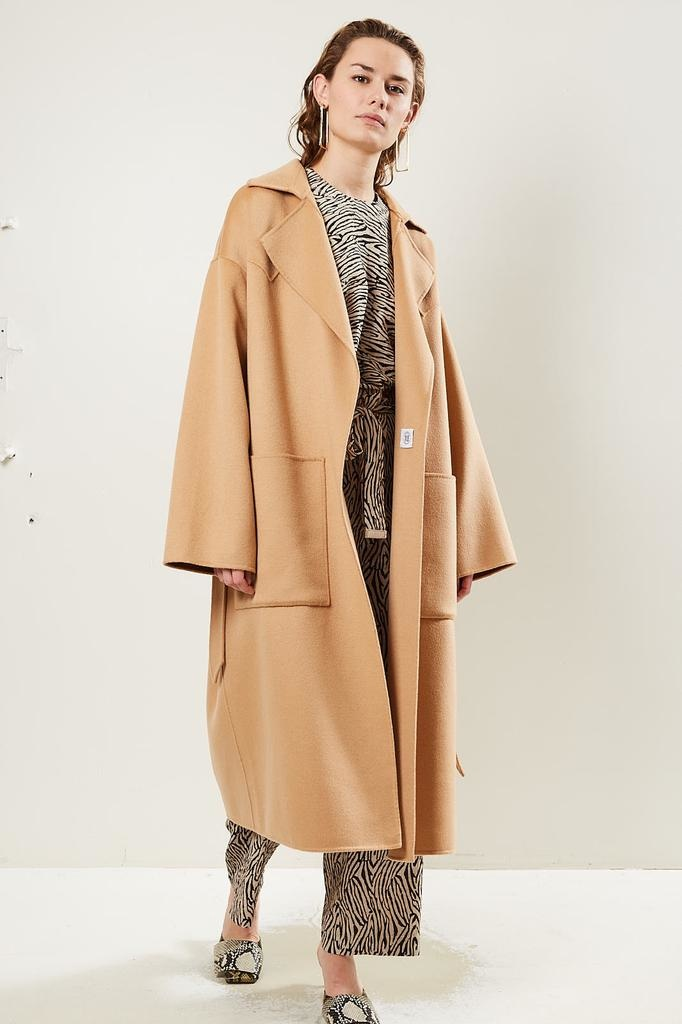 Nanushka Alamo Double Silk Wool Blend coat