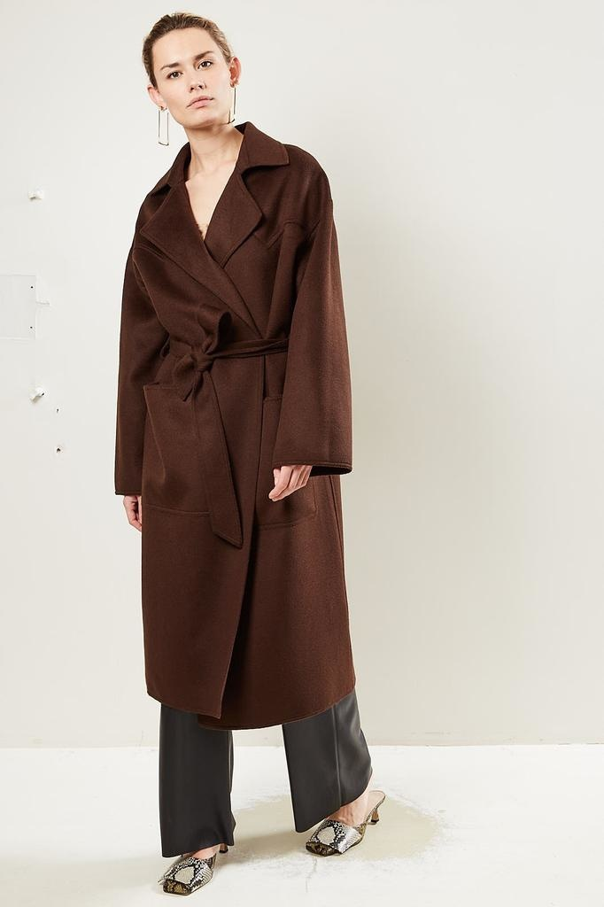 Nanushka Alamo Double Silk Wool Blend coat