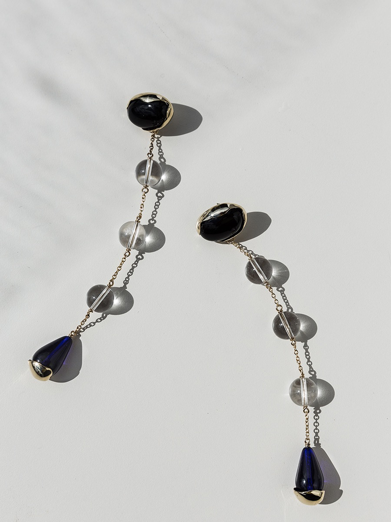 Faris pair of ovo sway earrings with onyx, quartz and blue glass