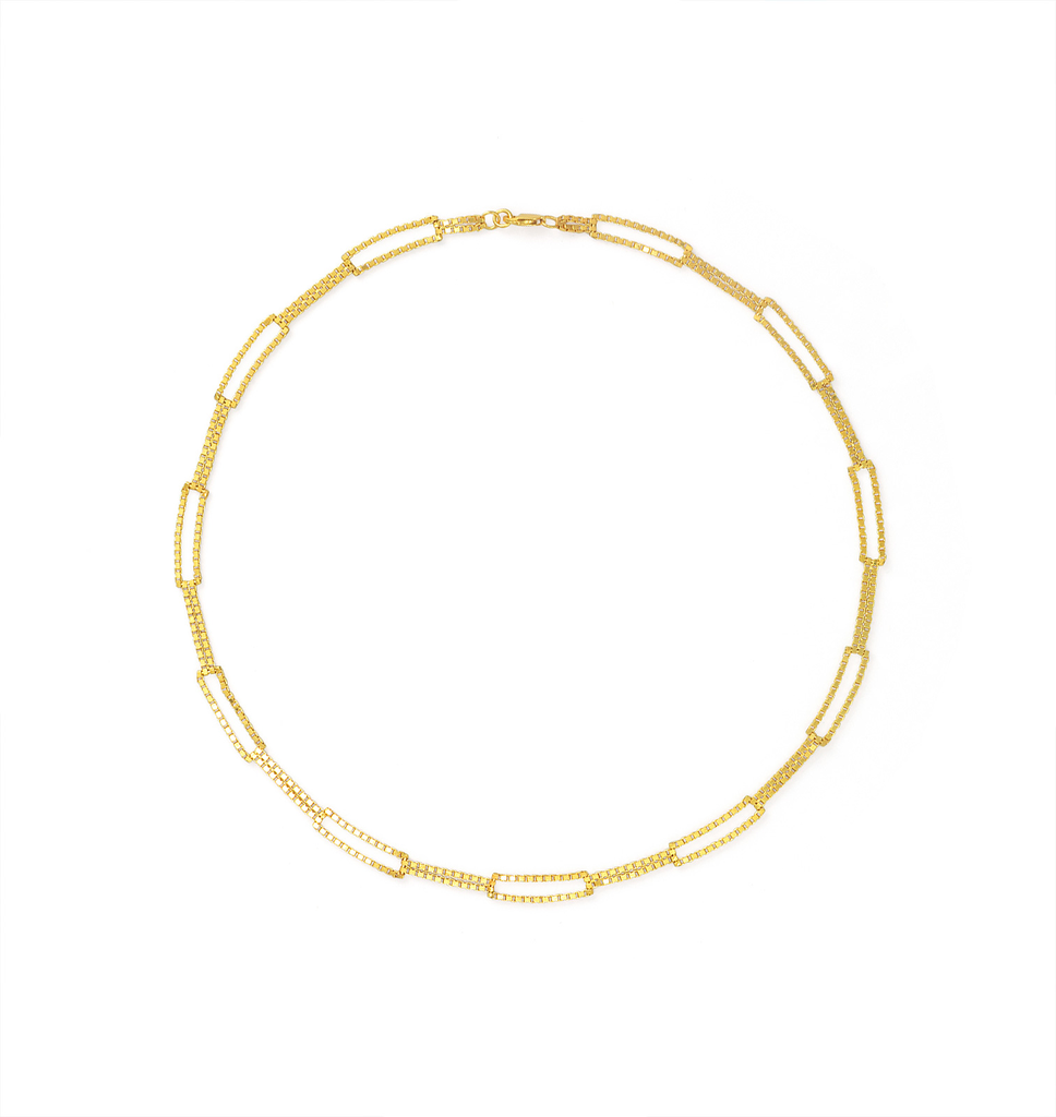 Martine Viergever - be square, neckalce short goldplated silver 40cm
