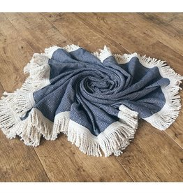 L'Anse, Towel, rund, dunkelblau/nature, 150cm