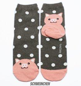 Cutie Socks Cutie Socks, Dots on the Toe Pig, brown, Grösse 36-40
