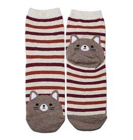 Cutie Socks Cutie Socks, Stripe on the Toe, Katze, braun