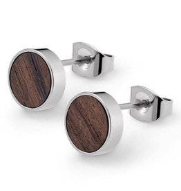 Kerbholz Kerbholz, Circle Earring, walnut, shiny silver