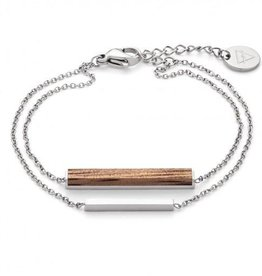 Kerbholz Kerbholz, Rectangle Bracelet, walnut/silver