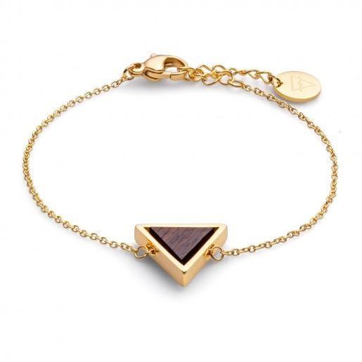 Kerbholz Kerbholz, Triangle Bracelet, sandalwood/gold