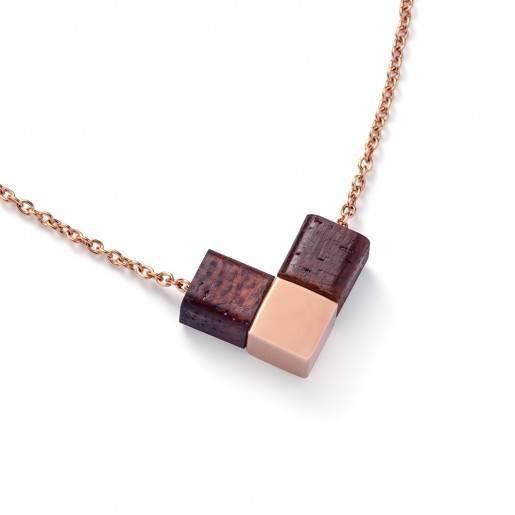 Kerbholz Kerbholz, Heart Cube Necklace, rosewood/rosegold