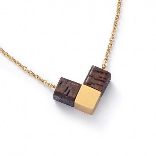 Kerbholz Kerbholz, Heart Cube Necklace, walnut/gold