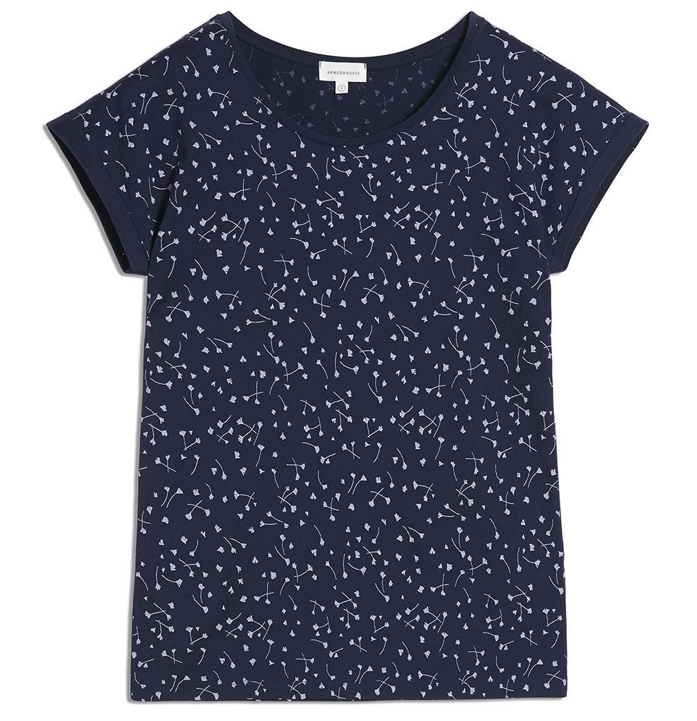 armedangels Armedangels, Livaa Blown Blossoms T-Shirt, evening blue, XS