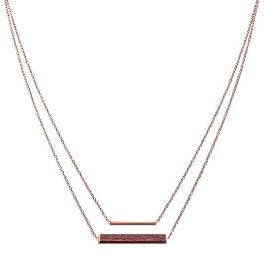 Kerbholz Kerbholz, Rectangle Necklace, rosewood, rosegold
