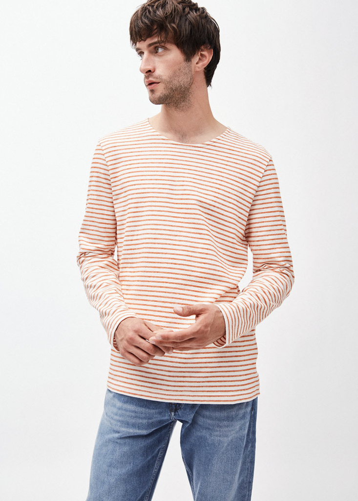 armedangels Armedangels, Jaardy Stripe, off white/dark orange, M