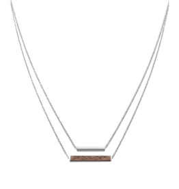 Kerbholz Kerbholz, Rectangle Necklace, walnut / shiny silver