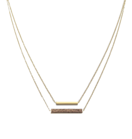 Kerbholz Kerbholz, Rectangle Necklace, walnut, gold