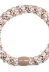 BonDep BonDep, Zopfgummi, white beige glitter stripe