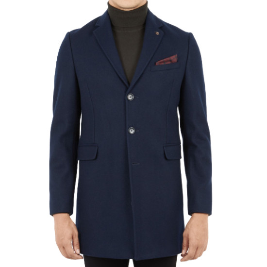 Ben Sherman, Covert Coat, Navy Blazer, S