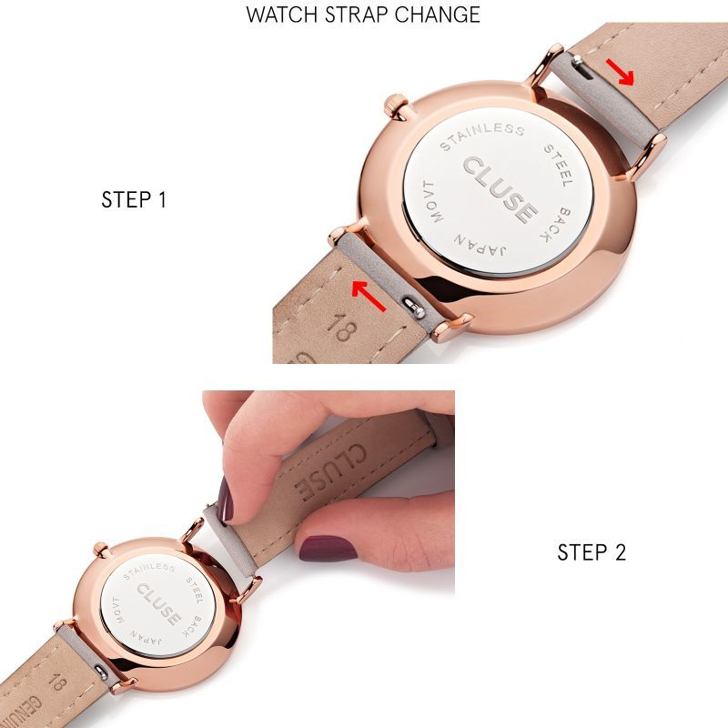Cluse Cluse, Minuit Strap, grey/rose gold