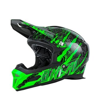 O`NEAL FURY RL HELMET MERCURY BLACK / GREEN M (57 / 58CM))