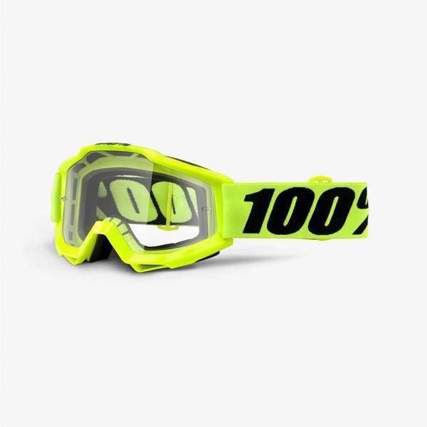 100% 100% Accuri goggle anti fog clear lens fluo yellow