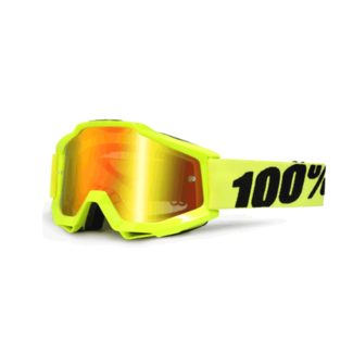 100% 100% Accuri Youth goggle antifog mirror lens fluo yellow