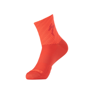 Specialized SOFT AIR MID LOGO SOCK FLORED/RKTRED STRIPE XL