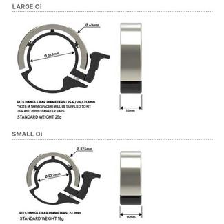 KNOG Oi Classic Small bicycle bell, 22.2mm, matt black