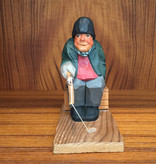 PAINTED WOOD CARVING OF OLD SWEDISH MAN FISHING