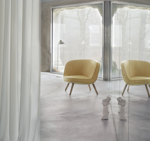 VIA57™ LOUNGE CHAIRIN YELLOW/WHITE FABRIC