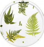 1001-46 COHIBA STENSÖTA GRÖN/VIT ROUND TRAY IN BIRCH WITH EMBEDDED TEXTILE ARTWORK ON SURFACE, ∅46 CM
