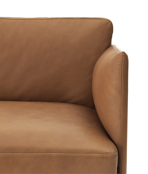 OUTLINE 3-SEATER SOFA IN COGNAC SILK LEATHER