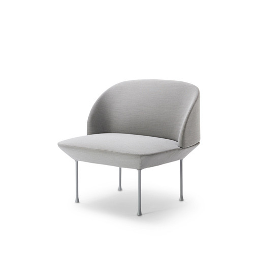 OSLO LOUNGE CHAIR UPHOLSTERED IN LIGHT GREY FABRIC