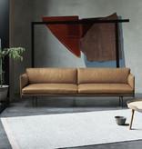 OUTLINE 棕色皮革三坐位沙发
